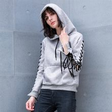 d28304dc7a 2018 Outono Inverno Casual Mulheres Hoodies Moletons Cinza Lace Up Manga  Comprida Pockets Hoodies Das Mulheres Pullover Solta Pl..