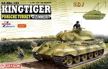 1/35 scale model Dragon 6848 Tiger King Warrior Porschea turret and Zimeli magnetic cover (including lifting crane)