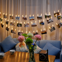 Garland LED String Lights Novelty Fairy Lamp Starry Battery Card Photo Clip Luminaria Festival Christmas Wedding Decoration(China)
