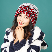 New lady's winter warm real rabbit fur knitting peaked cap