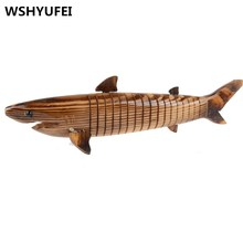 WSHYUFEI wood carving crafts dolphins shark ornaments home decoration, shooting props. Christmas birthday gift Dolls(China)