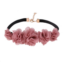 Graceful Style Sexy Pink Rose Flower Pendants Chokers Necklace Women Black Rope Chain Collar Necklace Jewelry 2017 Newest