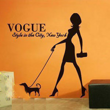 Pet Salon Wall Sticker Sexy Woman And Dog Pet Shop Clothes Shop Wall Sticker Grooming Salon Pet Salon Window Glass Decoration
