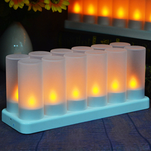 Rechargeable Yellow LED Tealight Candle with Frosted Holder for Christmas Bar Decoration Set of 6 By Free Shipping(China)