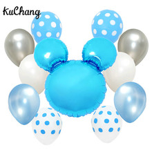 11pcs/lot Pure Blue Pink Mickey head Balloons Children Birthday Party Polka Dot Latex Helium Balloon Decor Supplies Kids Toys