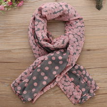 1 PC HOT Women Lady Soft Long Voile Neck Large Scarf Wrap Shawl Stole Pink Grey Dots Pashmina Scarf 165*80 CM Xmas Gift