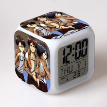 Japan Manga Attack On Titan Watch Desktop Decoration LED Alarm Clock Colorful Changing Touch Light Amine Figurine Kids Toys