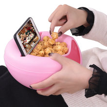 1Pc Multifunctional Circular Plastic Storage Box Phone Stand Double Deck Snacks Food Container Office Desk Organizer
