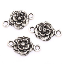 Buy Wholesale 30pcs/lot Tibetan Silver Rose Flower Charms Connector Findings 20mm two hole jewelry making for $2.83 in AliExpress store
