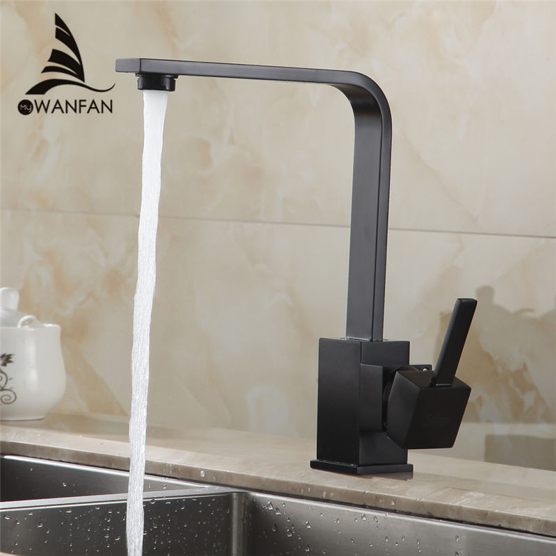 Kitchen Faucets Brass Kitchen Sink Water Faucet 360 Rotate Swivel Faucet Mixer Single Holder Single Hole Black Mixer Tap 7115<br>