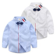 Toddler 1-9 Age Children Kids Long Sleeve Shirt Boys Dress Shirt With Bow Tie 2017 New Spring Autumn Baby Boys White Shirt Tops
