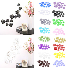 12Pcs 3D Mirror Flower Sticker Art Decal DIY Wall Home Decor Room Decorations