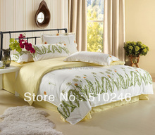 4pcs 100%cotton fashion stylel flower printed green yellow queen bedding set bed sheet sets duvet cover set