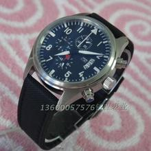 42mm PARNIS mark style Japanese quartz movement timing clock canvas strap fine steel men's watch is frosted