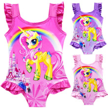 2018 New Baby Girls Summer Dress Swimsuit Children Cartoon pony Swimming Bikini Bathing Suit Vestidos Costume Kids Clothing