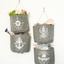 Navy Style Cotton Linen Storage Bag Creative Wardrobe Hang Bag Wall Pouch Cosmetic Toys Organize Pockets Home Storage Bag(China)