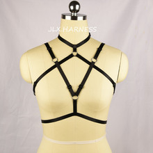 Buy Sexy Body Harness Criss Cross Polyester Cage Bra Open Chest Harness Bra Fetish Wear Pole Dance Bodysuit Goth Lingerie O0339