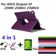 360 Rotating Litchi Skin Leather Case Capa Para Cover for ASUS Zenpad 10 Z300C Z300CL Z300CG Tablet PC for Asus +OTG+Pen+Film