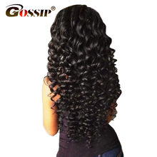 "Gossip Hair Lace Front Human Hair Wigs For Black Women Natural Black Deep Wave Brazilian Hair Wigs 3"" Swiss Lace Wig Non Remy(China)"