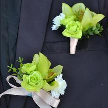 Artificial Orchid Silk Flower Bride Wrist Corsage Groom Best man Boutonniere Pin Wedding Flowers Party Suit decorations(China)