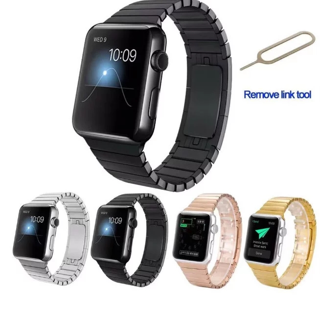 Band for apple watch link bracelet 1:1 copy 316L stainless steel Stealth buckle watchband for iwatch 38/42mm Black Silver Gold<br><br>Aliexpress