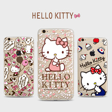 Hello Kitty Clear TPU phone Cases For Iphone 6 6s 6Plus 7 7s 7plus Bow Cat Soft Fundas Silicon Ultra Thin Phone Cover Case(China)