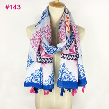 Fashionable neon color ladies flower Printing cotton voile hijab tassel scarf