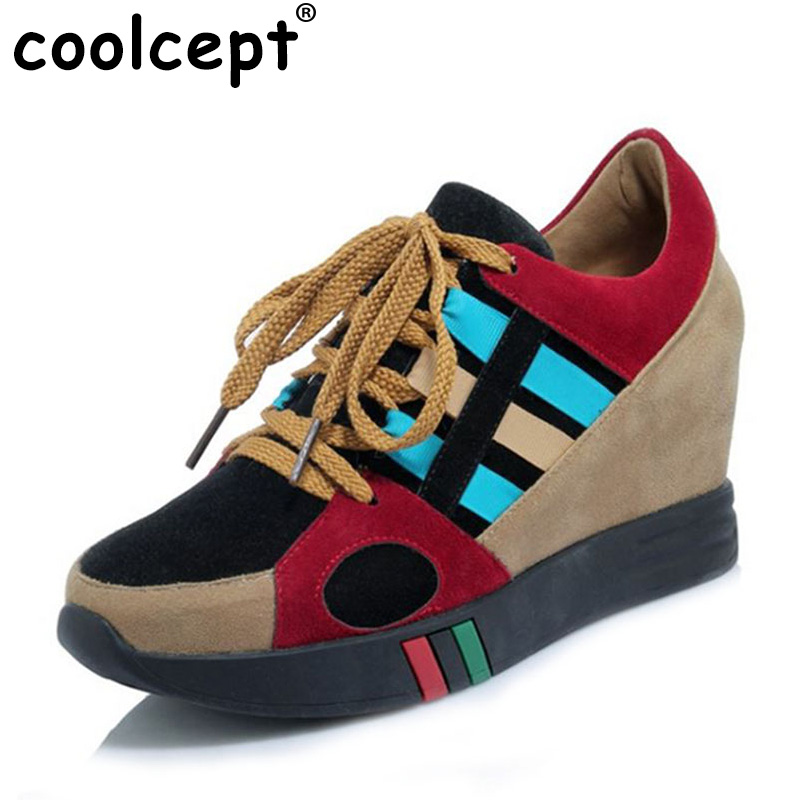 Coolcept Size 34-40 Women High Heel Wedges Spring Pumps Women Cross Tied Mixed Color Shoes Women Height Increasing Sneakers<br>
