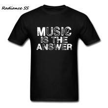Brand Clothing Men t-shirts Popular Music is the Answer t shirts Hip Hop Short Sleeve Adult Clothing Plus Size(China)