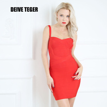 DEIVE TEGER new fashion WINTER dress 2016 Woman Bandage Spaghetti Strap Club Party Mini Dress 16 Colors vestidos HL737(China)