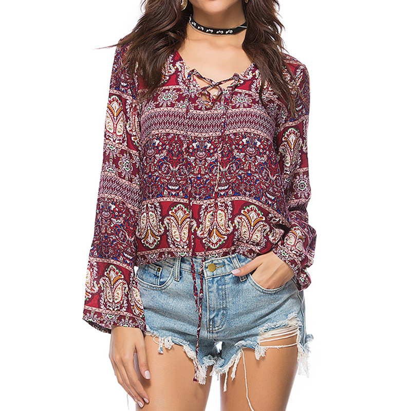 New Women Blusas Boho Floral Printed Blouse Spring Autumn Style Long Sleeve V Neck Lace Up Loose Shirts Vintage Retro Tops Shirt