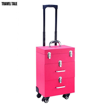 TRAVEL TALE Black/rose red Aluminum Cosmetic Case METALLIC Makeup bag Trolley multifunction Beauty suitcase(China)