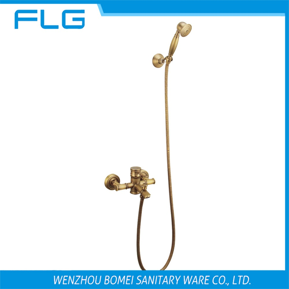 Free Shipping HS004 Wall Mounted Single Handle Antique Brass Wall Mounted Faucet With Shower Head, Solid Brass Shower Faucet<br><br>Aliexpress