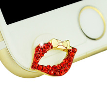 3.5mm Red Rosy Lips Diamond Bling Universal High Quality Original Earphone Anti Dust Plug for iphone Samsung Mobile Phone Cap