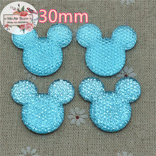 light blue Mickey Mouse With Bow Cabochon Resin Flatbacks Scrapbooking For DIY craft 34x30mm 10PCS