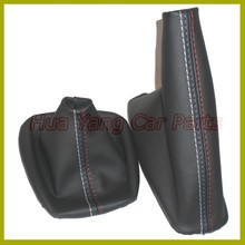 Free Shipping Car Shift Gear Stick Manual Handbrake Gaiter Shift Boot Black Leather Boot For BMW 3 Series E36 E46 M3 Car Styling