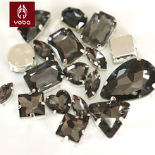 Black Diamond Glass Sew On Rhinestone with claw Glass Crystal  Mix Shapes Sizes For Clothes DecorationY3503