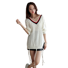Spring Autumn New Women sweaters and pullovers 2017 Europe America Wind Fashion Slim body V collar Tassel Pullover Women BL343 G(China)