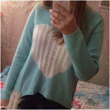 IMC Women's Heart Pattern Pullover neck Long Sleeve Knitwear Stylish Casual Knitted Sweater