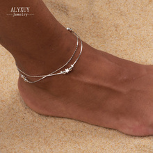 wholesale New fashion jewelry silver color heart beads star mix design anklet for women girl wholesale AN53(China)