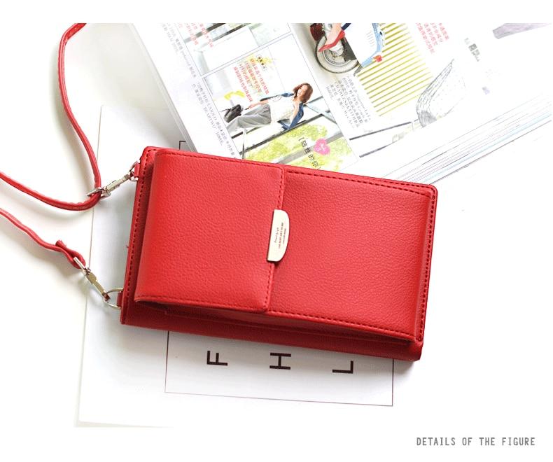 19 New Women Casual Wallet Brand Cell Phone Wallet Big Card Holders Wallet Handbag Purse Clutch Messenger Shoulder Straps Bag 25