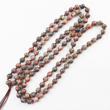 (Min.order 10$ mix) Free Shipping 6mm 108pcs Leopard Skin Stone Round Beads Necklace 30 inch SAM_7492