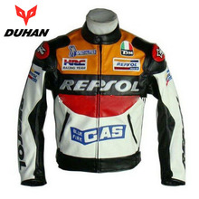 2017 Fashion DUHAN Moto Racing Jackets motorbike GP REPSOL motorcycle Riding Leather Jacket PU leather Polyurethane orange blue(China)