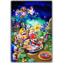 Super Mario Bros Figure Cartoon Pop Video Games Retro Art Print Poster Wall Pictures Silk Canvas Painting Kids Room Decor 1239(China)