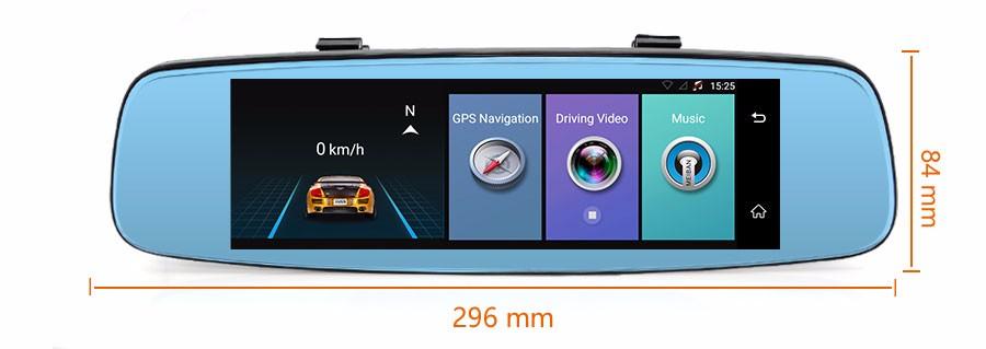 "Junsun 4G ADAS Car DVR Camera Digital Video recorder mirror 7.86"" Android 5.1 with two cameras dash cam Registrar black box 16GB 50"