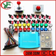 DIY arcade game kit 645 in 1 game borad game box PCB ZIPPY joystick LED push button 28PIN Wire harness power supply