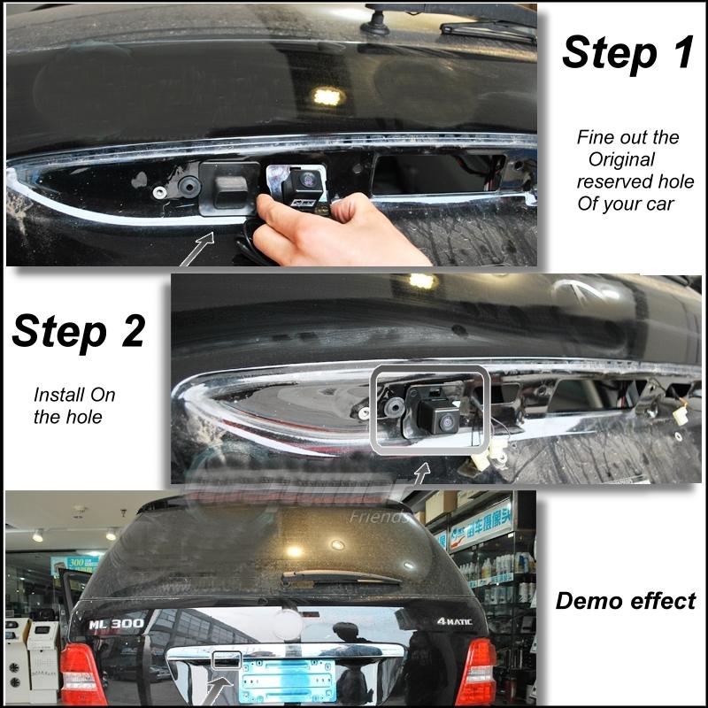 Original Reserved Hole Car Camera For Mercedes Benz ML M MB W164 ML350 ML330 ML63 ML450 ML500 Rear View BackUp LiisLee CAM Demo
