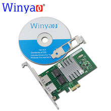Winyao WY580T PCI-E X1 10/100/1000Mbps Dual Port Gigabit Ethernet Network Interface Card 2*RJ45 Compatible Intel I340-T2 82580