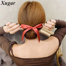 2 Pcs Fashion Magic Tools Sponge Device Quick Messy Hairstyle Girl Women Hair Bows Band Accessories Silk Headband(China)