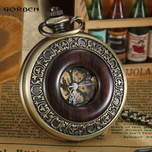 2016 New Vintage Carving Analog Steampunk Mechanical Half Hunter Watch Roman Num Waist Chain 2 Side Men's Pocket Watches P407